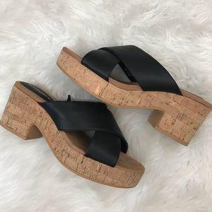 Divided by H & M Cork Slide platform sandals 8